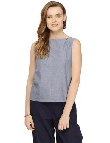 Rigo Chambray Boat Neck Sleeveless Top