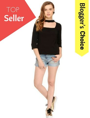 Rigo Black Solid Choker Neck Top