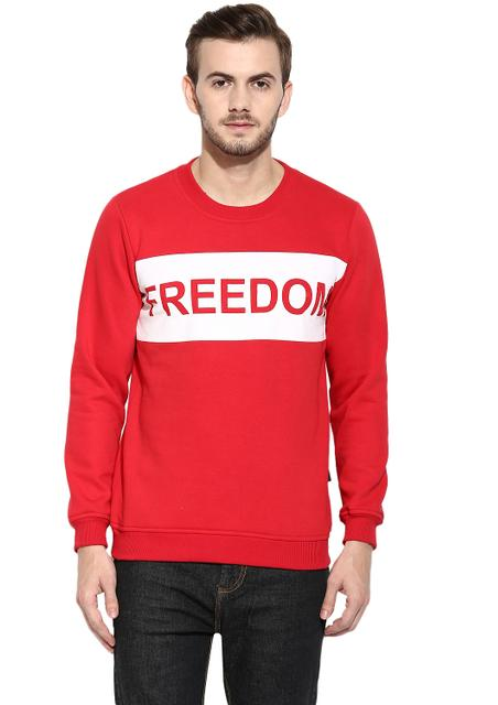 RIGO Freedom Bright Red Full Sleeve Round Neck Fleece Sweatshirt