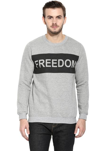 RIGO Freedom Grey Melange Full Sleeve Round Neck Fleece Sweatshirt