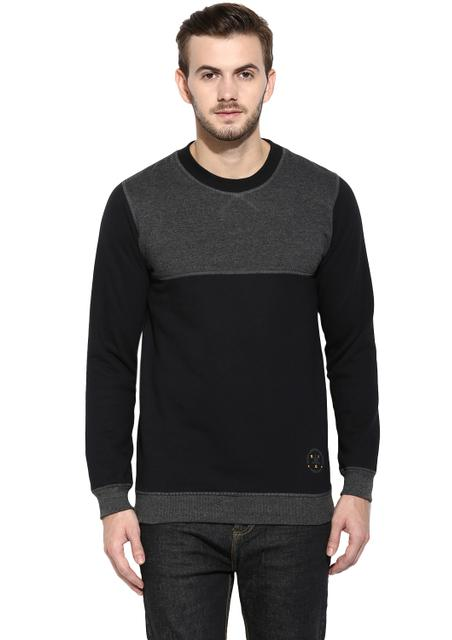 RIGO Black Full Sleeve Round Neck with Charcoal Yoke Fleece Sweatshirt