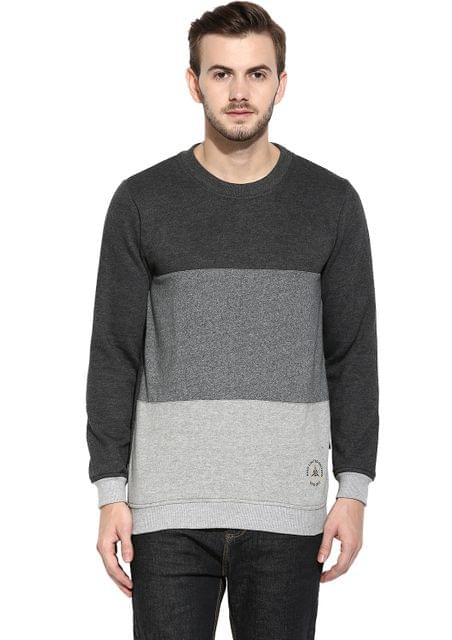 RIGO Charcoal Full Sleeve Round Neck multicolor panel Fleece Sweatshirt