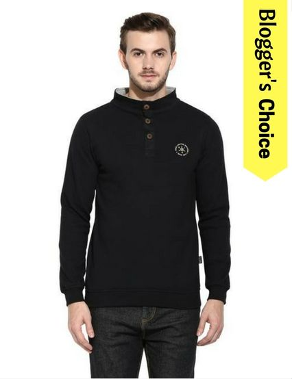 RIGO Black Half Bbutton Closure Mock Collar Full Sleeve Fleece Sweatshirt