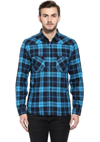 RIGO Blue Flannel Check Full Sleeve Slim-Fit Shirt