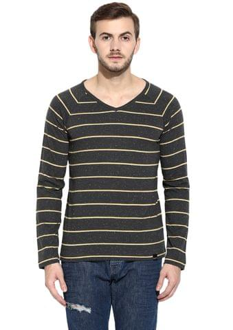 RIGO Charcoal Nep Full Sleeve V-Neck Tee