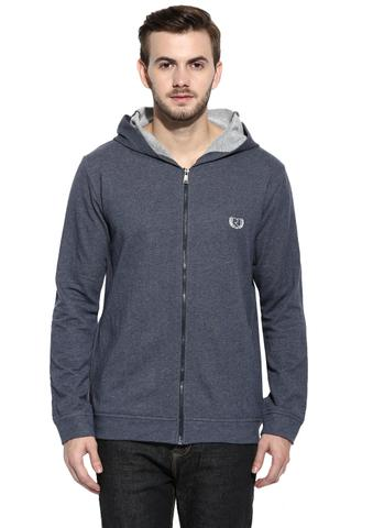 RIGO Steel Blue Melange Full Zip Closure Hooded Terry Sweatshirt