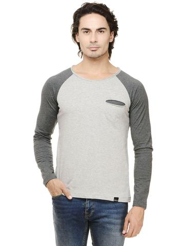Rigo Grey Melange Solid Full Sleeve Raglan Charcoal Round Neck Tee