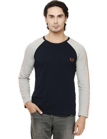 Rigo Navy Solid Full Sleeve Grey Raglan Round Neck Tee