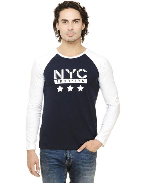 Rigo Navy Solid Full Sleeve Raglan White Round Neck Tee
