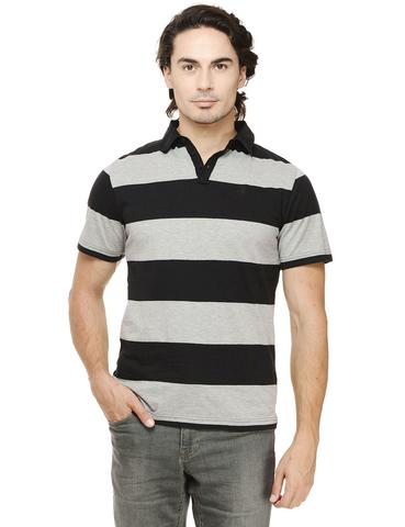 Rigo Grey & Black Striped Half Sleeve Slim Fit Polo Tee