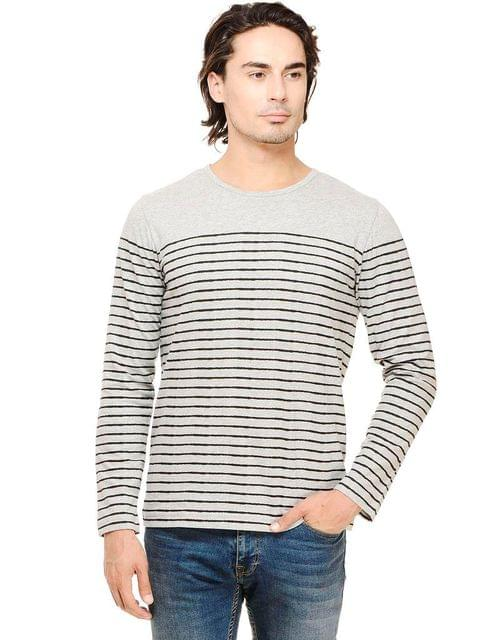 Rigo Grey Melange  Black Striped Full Sleeve Round Neck Tee