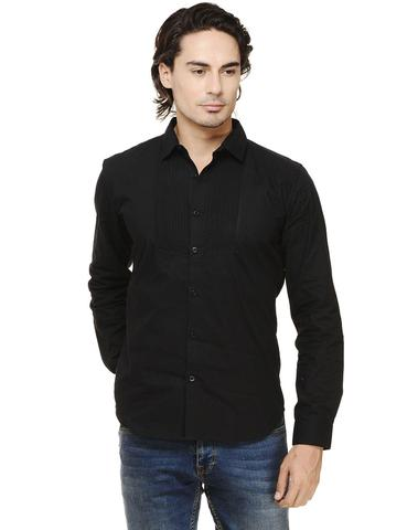 Rigo Black Solid with Pintuck Slim Fit Casual Full Sleeve Shirt