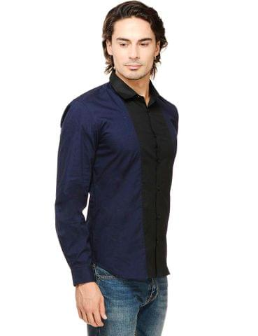 Rigo Navy Solid with Front Black Panel Slim Fit Casual Full Sleeve Shirt