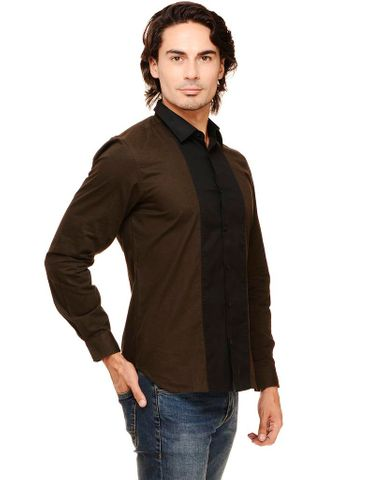 Rigo Olive Solid with Front Black Panel Slim Fit Casual Full Sleeve Shirt