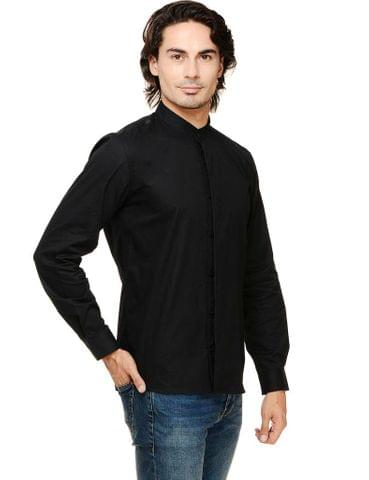 Rigo Black Solid Concealed Placket Mandarin Collar Casual Full Sleeve Shirt