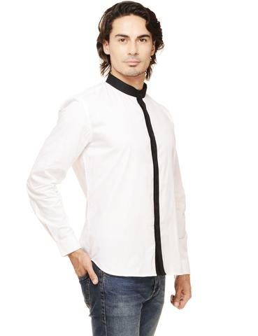 Rigo White Solid with Black Placket & Mandarin Collar Casual Full Sleeve Shirt