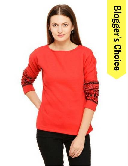 Rigo Red boat neck sweatshirt with printed sleeves