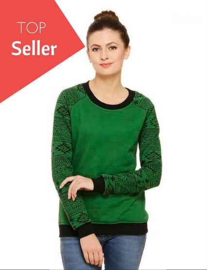 Rigo Green sweatshirt with printed raglan sleeves