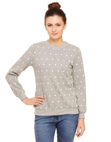 Rigo Grey sweatshirt with white polka dot print