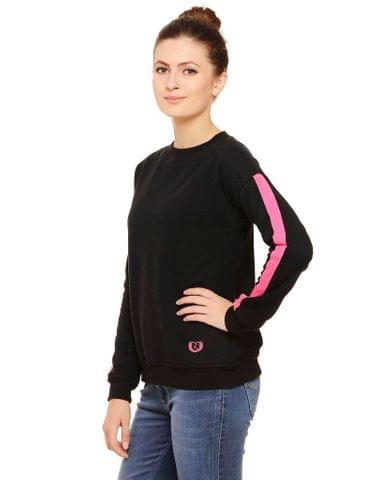 Rigo Black sweatshirt with Pink Tape trimmed Sleeves