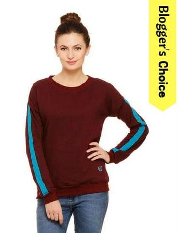 Rigo Maroon Sweatshirt with Turquoise Tape trimmed Sleeves
