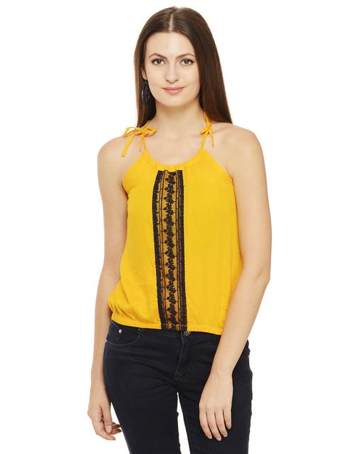 Rigo Mustard Top with Lace Insert Middle Panel