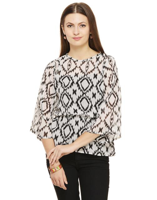 Rigo Black and White Ikat Print Top