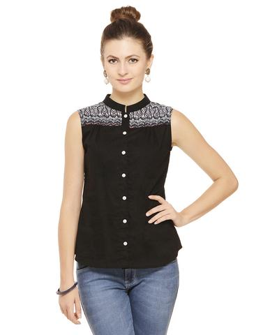 Rigo Black Shirt with Printed yoke