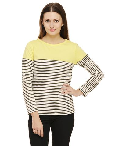 Rigo Army Green stripe top with solid yellow yoke