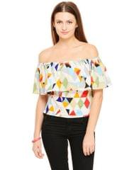Rigo Multi Color print Ruffle Bardot Top