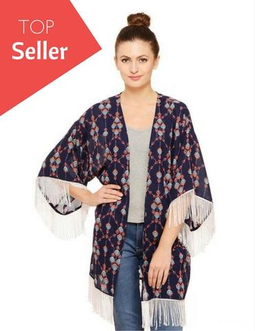 Rigo Multi Color Abstract Print Kimono Shrug