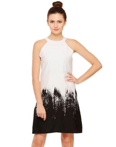 Rigo Black and White printed halter dress