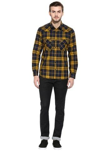 RIGO Yellow Flannel Check Full Sleeve Slim-Fit Shirt