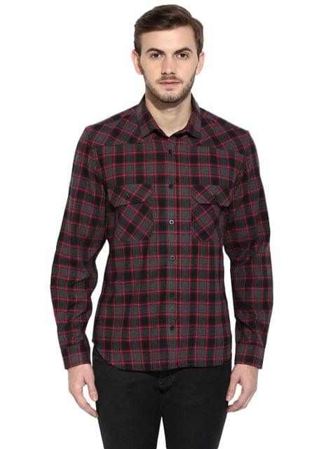 Maroon Flannel Check Full Sleeve Slim-Fit Shirt