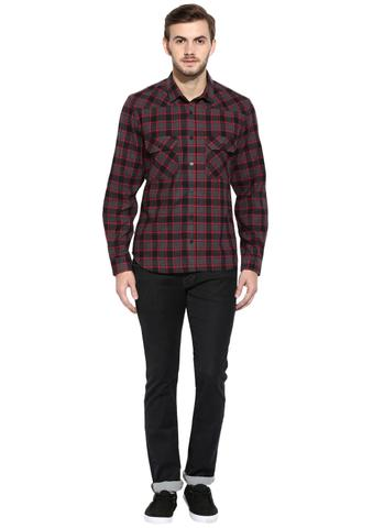 RIGO Maroon Flannel Check Full Sleeve Slim-Fit Shirt