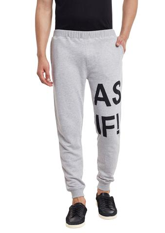 RIGO Grey Printed Detailing French Terry SlimFIt Jogger