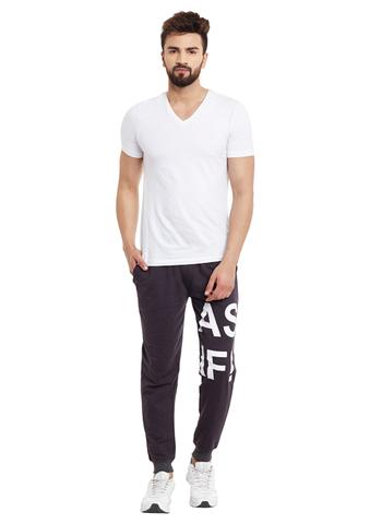 Charcoal Printed Detailing French Terry SlimFIt Jogger