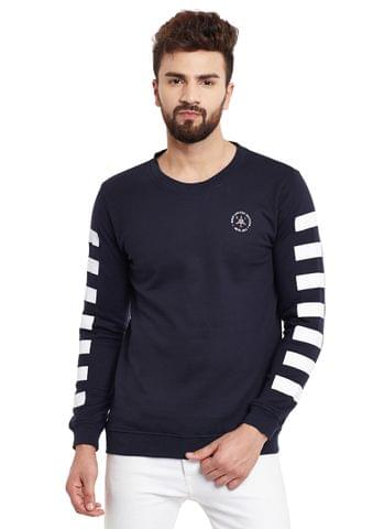 RIGO Navy Stripe Sleeve Round Neck Fleece Sweatshirt