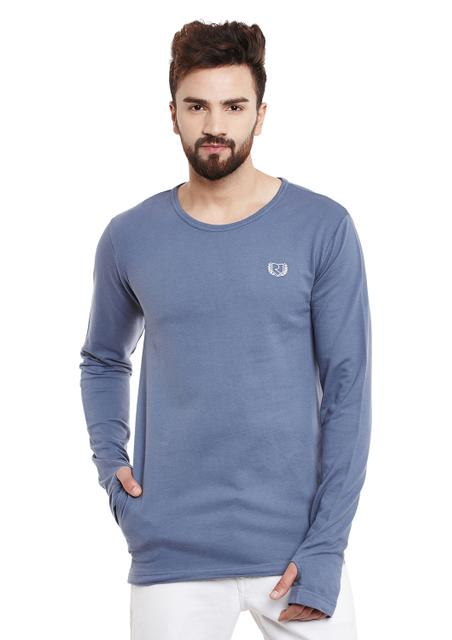 RIGO Steel Blue Thumb Hole Sleeve Round Neck Terry Sweatshirt