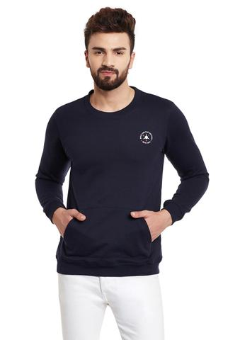 RIGO Navy Kangaroo Pocket  Round Neck Fleece Sweatshirt