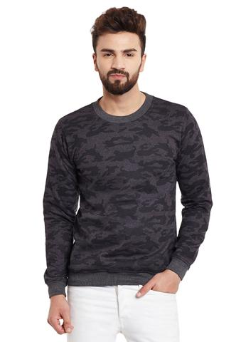 RIGO Camouflage Round Neck Charcoal Fleece Sweatshirt