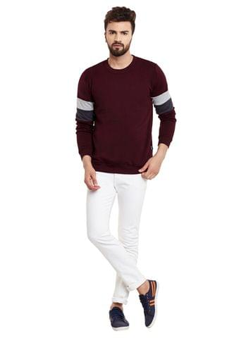RIGO Dual Panel Sleeve Solid Maroon Fleece Sweatshirt