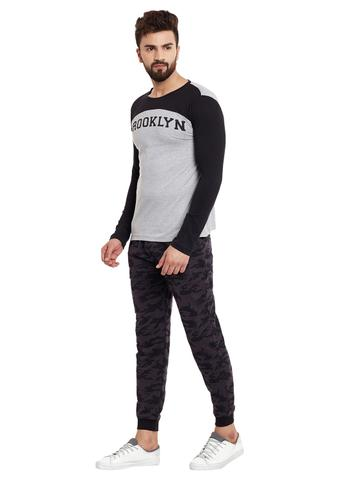 RIGO Grey Body Full Black Sleeve Round Neck Tee