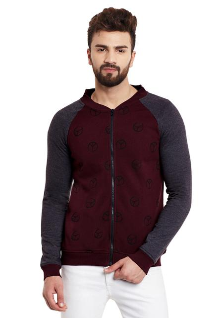 RIGO Peace Maroon Bomber Style Fleece Charcoal Sleeve Sweatshirt