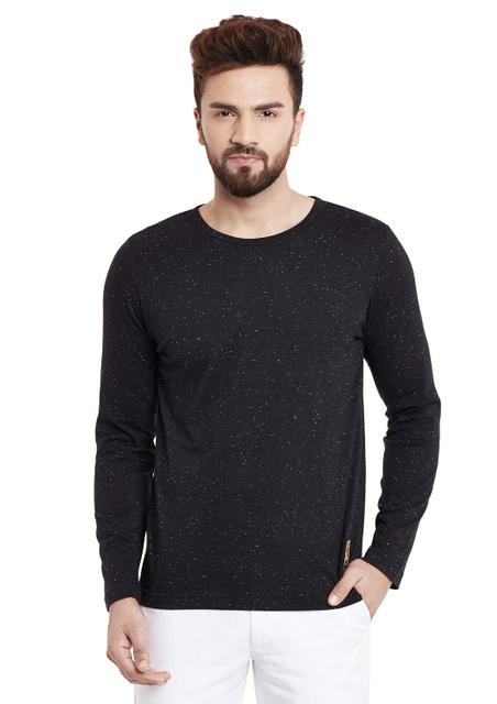 RIGO Black Single color Nep Full Sleeve Round Neck Tee