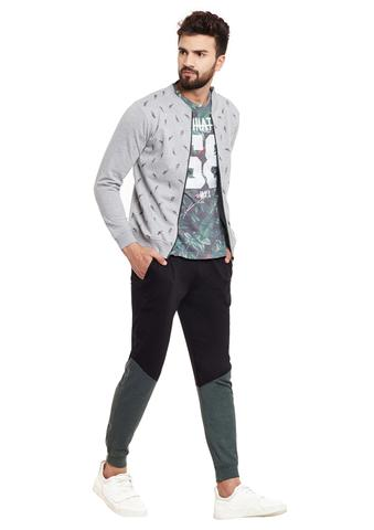 RIGO Sneaker Printed Grey Bomber Style Fleece Sweatshirt