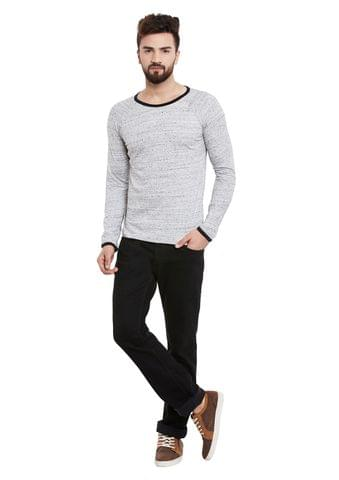 RIGO Grey Slub Full Sleeve Round Neck Tee
