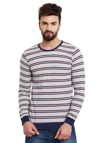 RIGO Grey Stripes Full Sleeve Round Neck Tee