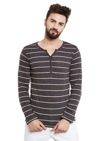 RIGO Charcoal Stripes Full Sleeve Henley Tee
