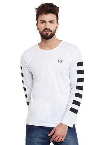 White Stripes Sleeve Round Neck Tee